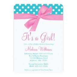 Pink and Teal Bow Polka Dot Baby Shower