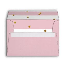 Pink and White Stripe Gold Glitter Nautical Anchor Envelope