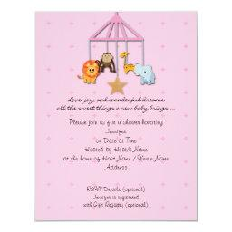 Pink Baby Animal Mobile Baby Shower