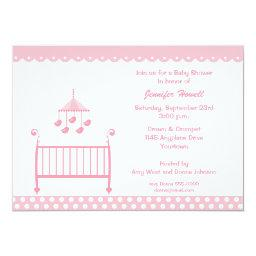 Pink Baby Crib and Mobil