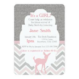 Pink Baby Deer Chevron & Burlap Baby Shower Invite