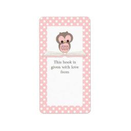 Pink Baby Owl on Book Gift Bookplate Label