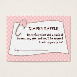 Pink  Diaper Raffle Ticket Insert