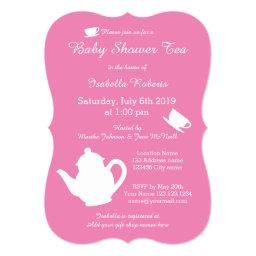 Pink  tea party  with teapot