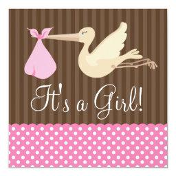 Pink Brown Stork Dots Girl