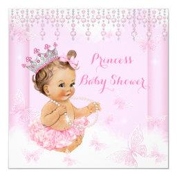 Pink Butterfly Tiara Princess Baby Shower Brunette