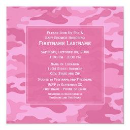 Pink Camo Baby Shower or Party