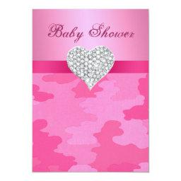 Pink Camo Diamond Heart Baby Shower