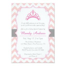 Pink Chevron, Princess Crown, Girl Baby Shower