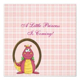 Pink Dragon on Pink Plaid Baby Shower