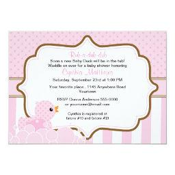 Pink Duck with Bubbles Girls  Invite