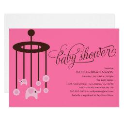 Pink Elephant Mobile Baby Shower  | Pink