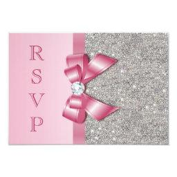 Pink Faux Bow & Diamonds RSVP