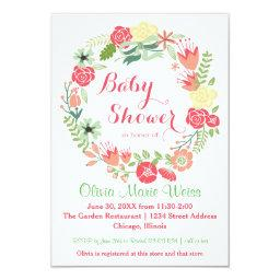Pink Floral Circle Wreath - 3x5  Invite