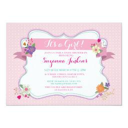 Pink Floral It's a Girl / Twins  Invite