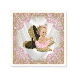 Pink Gold High Heel Shoe Pearl Girl  Napkin