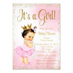Pink Gold Little Ballerina Tutu Pearl Baby Shower