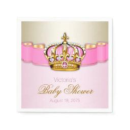 Pink Gold Princess Crown  Napkin