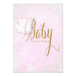 Pink Gold Snowflake Baby Girl Shower