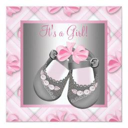 Pink Gray Baby Shoes Pink Gray Baby Girl Shower