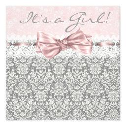 Pink Gray Damask Pink and Gray Baby Girl Shower