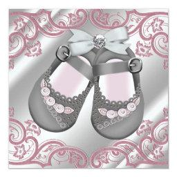 Pink Gray Shoes Swirls Pink Gray Baby Girl Shower