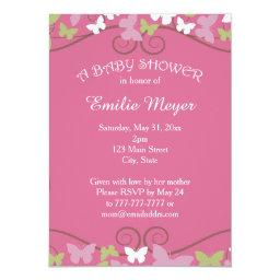 Pink Green Butterflies Baby Shower