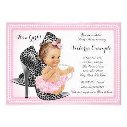Pink High Heel Shoe Tutu Pearl Baby Shower