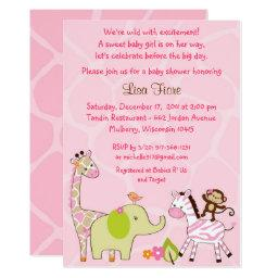 Pink Jungle Animal Baby Shower