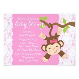 Pink Lace Monkey Baby Girl Shower