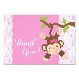Pink Lace Monkey Baby Girl Thank You
