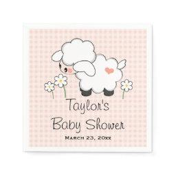 Pink Lamb Girl Baby Shower Paper Napkin