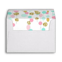 Pink Mint gold Glitter Envelope Girl Birthday