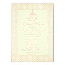 Pink mobile faded polkadots baby shower