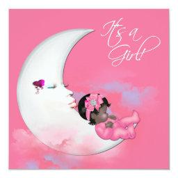 Pink Moon African American Baby Girl Shower