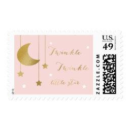 Pink Moon and Stars  Stamp