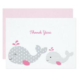 Pink Nautical Whale Baby Shower Thank You