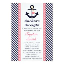 Pink Navy Anchor Nautical Baby Shower