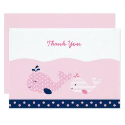 Pink & Navy Whale Baby Shower Thank You