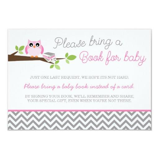 Pink Owl Gray Chevron  Book