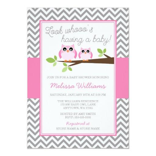 Pink Owl Gray Chevron Girl