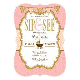 Pink Peach Gold Sip And See