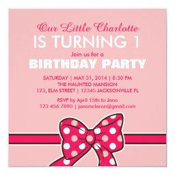 Pink Polka Dots Ribbon Birthday  for Kid