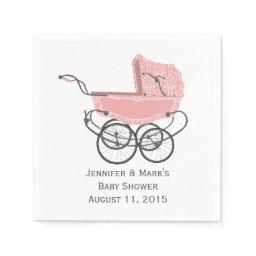 Pink Pram Custom Baby Shower Paper Napkins