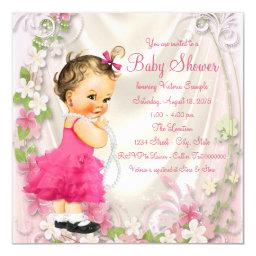 Pink Ruffle Dress and Pearls Girl Baby Shower