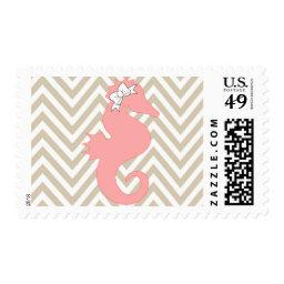 Pink Seahorse Beach  Postage