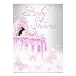 Pink & Silver Sparkle Butterfly Girl Baby Shower