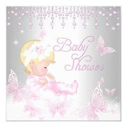 Pink Silver Sprinkle Butterfly Baby Shower Blonde