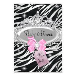 Pink Sparkle Zebra Princess Tiara Baby Shower