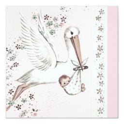 Pink Stork Baby Girl Shower